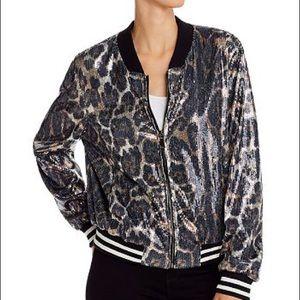 AQUA Sequined Leopard Print Bomber Jacket